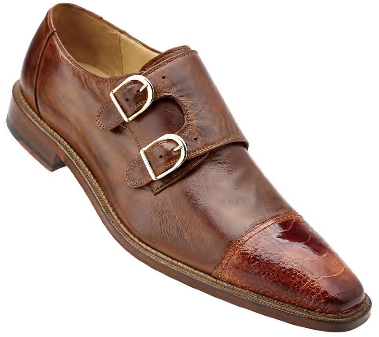 "Belvedere ""Amico"" Brandy Brown Genuine Ostrich and Italian Calf"