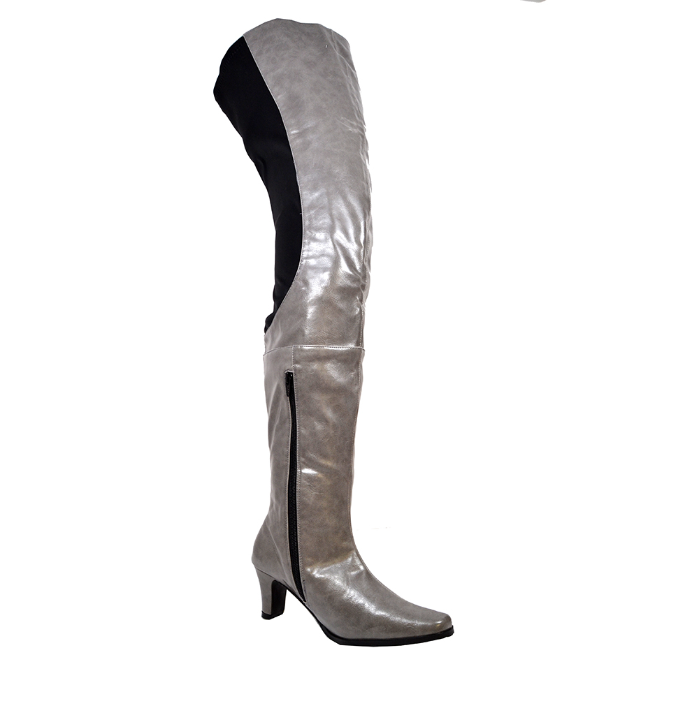 e4abd98c927b Peearge LB7060 Ladies Thigh High Boots Grey Leather  LB7060g ...