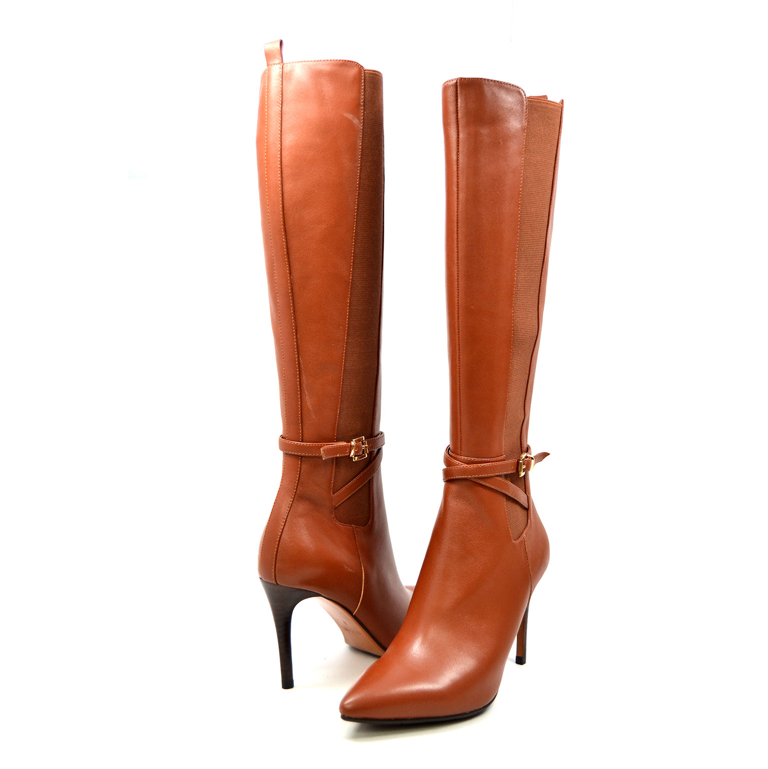 SoleMani Women's Noosh Cognac Leather Narrow calf