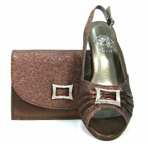 Model  Lacey Womens Size 75 Bronze Fabric Dress Sandals Shoes  No Box