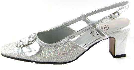 Floral DP751 Womens Silver Dress Shoes