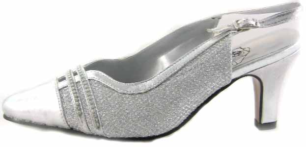 Floral DP746 Womens Silver Dress Shoes
