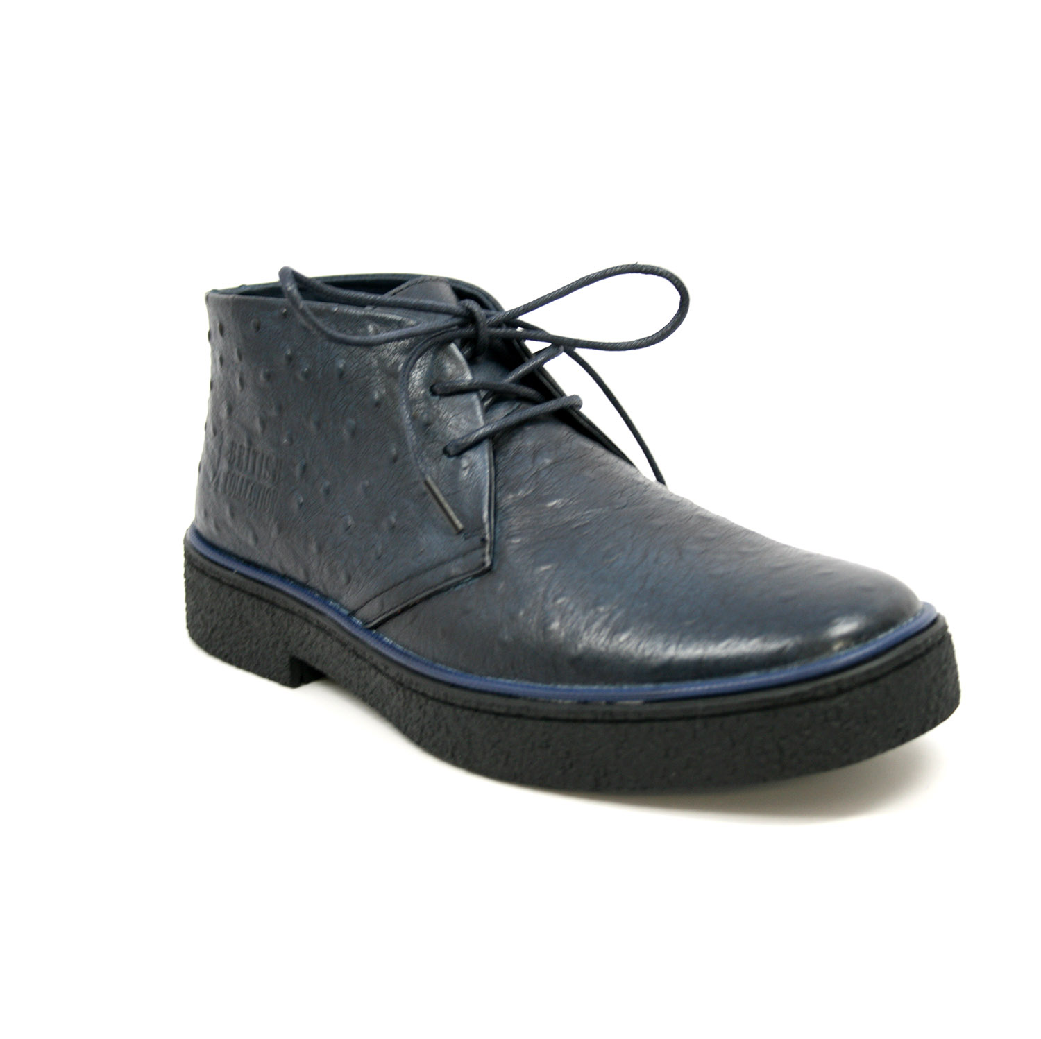 British Collection Men S Playboy Ostrich Boot Navy Leather