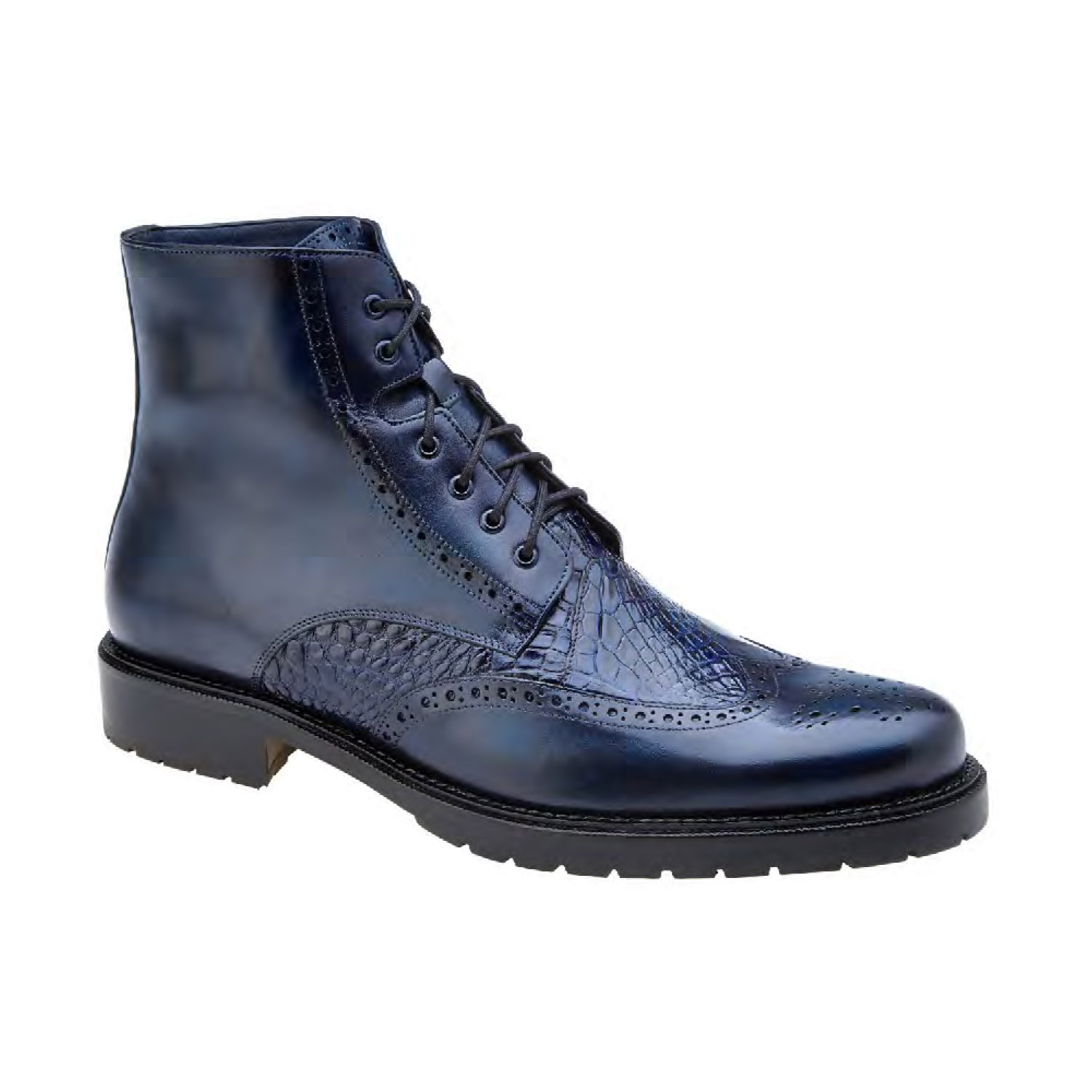 425704c1a2608 Belvedere Vito Genuine Alligator Italian Leather-Navy