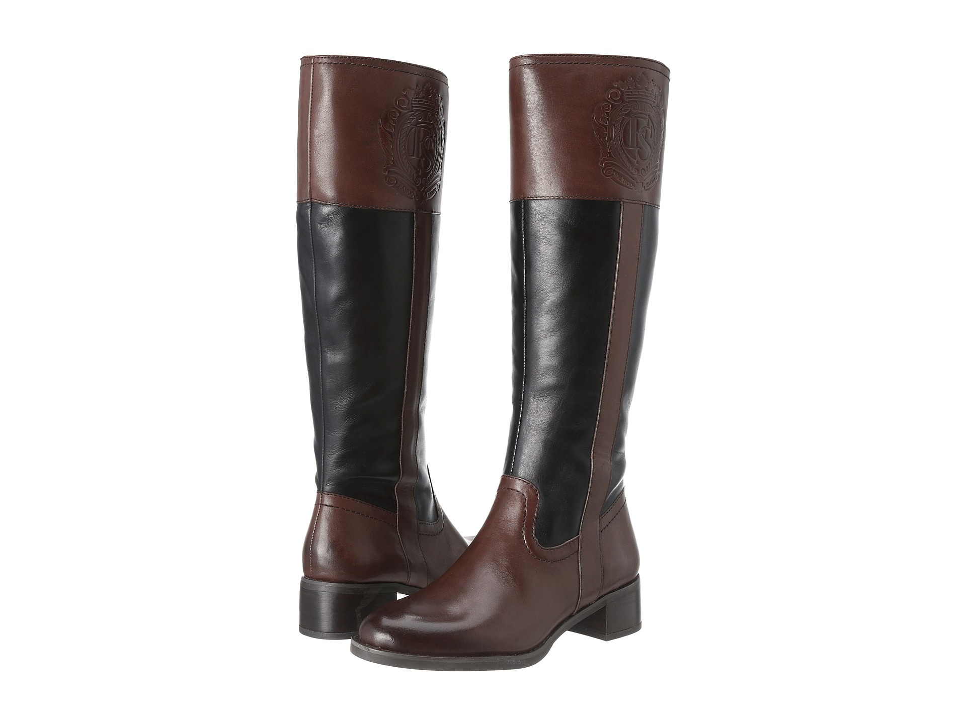 Franco Sarto Women's Christie Riding Boot Brown/Black Leather ...