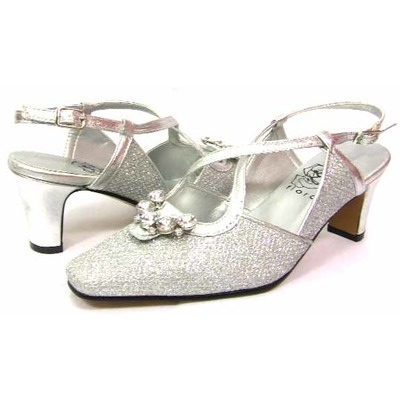 Floral DP749 Womens Silver Dress Shoes