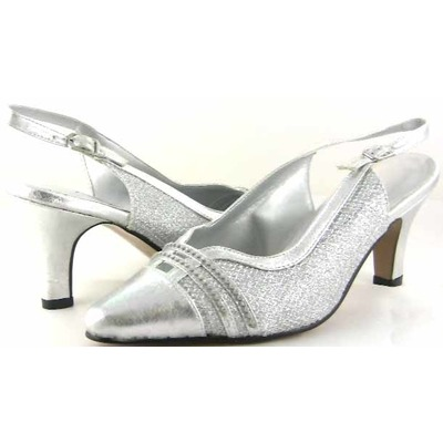 Wide width womens silver shoes