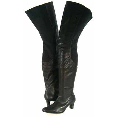 Peearge LB7060 Ladies Thigh High Boots Black Leather [LB7060 ...