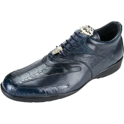 Belvedere Bene Ostrich And Leather Sneaker Navy