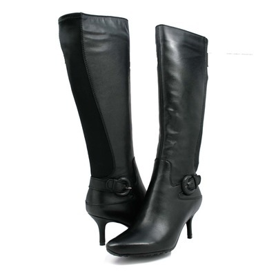 "SoleMani Women's Rochelle Black Leather 12"" calf size"