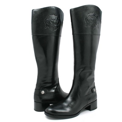 Franco Sarto Women's Chip Riding Boots Black Leather