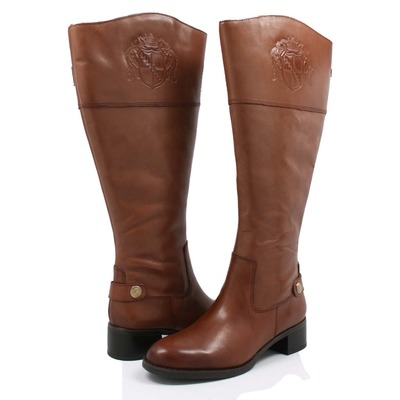 Franco Sarto Women's Chip Wide Calf Riding Boots Banana Bread Le