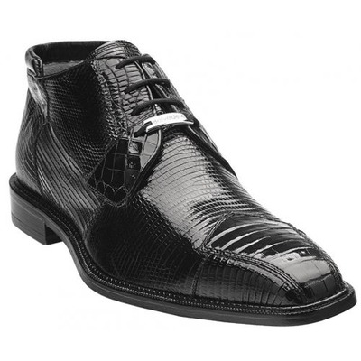 Belvedere Napoli Black Genuine Crocodile & Lizard Leather Boots