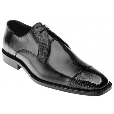 Belvedere Pisa Black Genuine Ostrich and Italian Calf Shoes