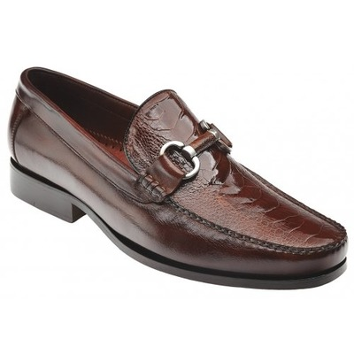 Belvedere Altima Camel Genuine Ostrich and Italian Calf Shoes