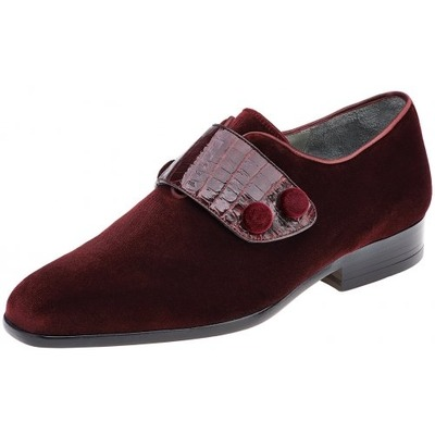 Belvedere Fede Scarlet Red Genuine Crocodile & Velvet Shoes