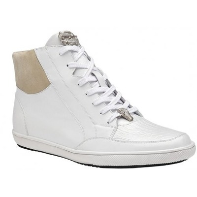 Belvedere Franco  White Genuine Crocodile Leather Shoes