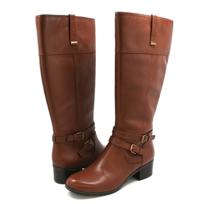 Women's Bandolino Carlotta Tall low heel Leather Boots Brown