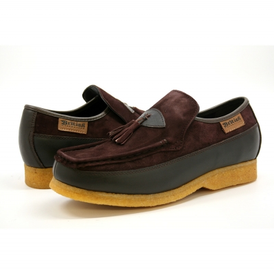 British Collection King Old School Slip On Brown Suede Shoes