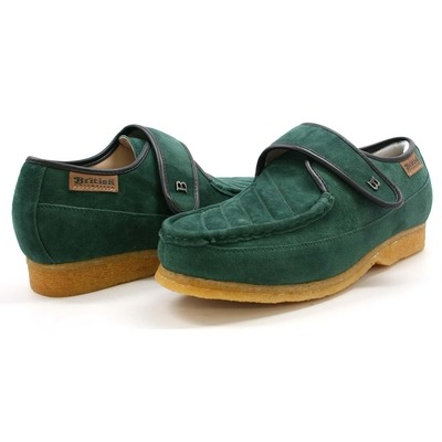 British Collection Royal Old School Slip On Green Suede Shoes