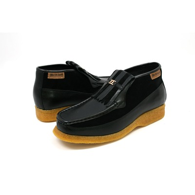 British Collection Apollo-Black and Black Leather/Suede Slip-on