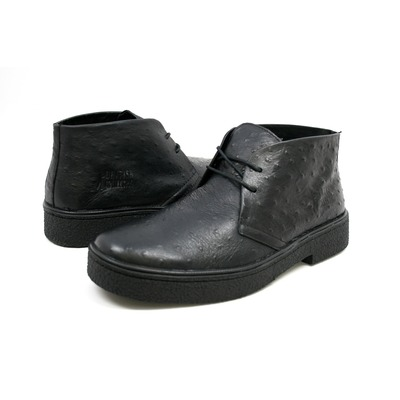 British Collection Men's Playboy Ostrich Boot Black Leather