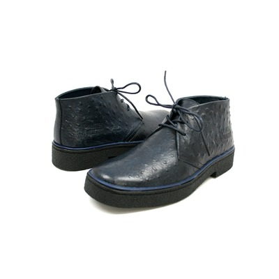 British Collection Men's Playboy Ostrich Boot Navy Leather