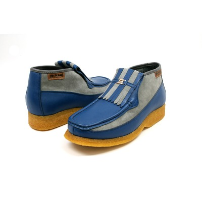 British Collection Apollo-Blue and Grey Leather/Suede Slip-on