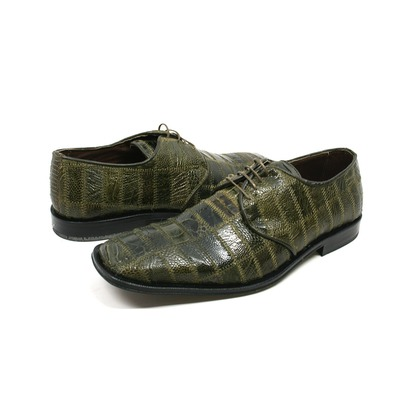 David Eden Men's Trek Patchwork Ostrich Leg Leather Military