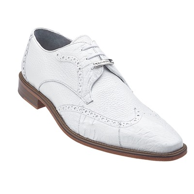 Belvedere Amato Men's Genuine Crocodile Skin Italian Shoes White