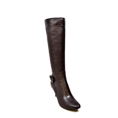 "SoleMani Women's Rochelle Brown Leather 12"" calf size"