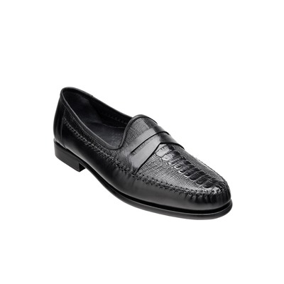 Belvedere Giotto Genuine Ostrich & Italian Calf Black Loafer