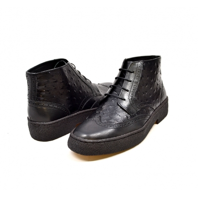British Collection Black Ostrich and Wingtip Leather