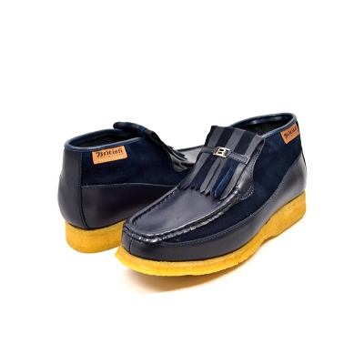 British Collection Apollo-Navy Leather and Suede Slip-on