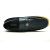 British Collection Checkers-Navy Leather Slip-ons