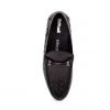"British Collection ""Capitan"" Black Ostrich Leather Slip-on"