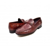 "British Collection ""Capitan"" Bordeaux Ostrich Leather Slip-on"