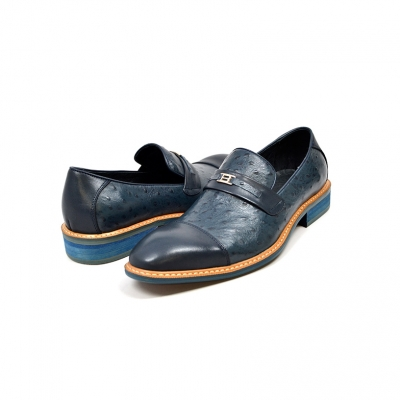 "British Collection ""Dolche"" Navy Ostrich Leather"