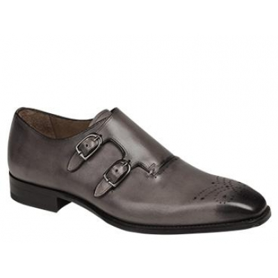 Mezlan Gris Hand Burnished Italian Calfskin Grey Shoes