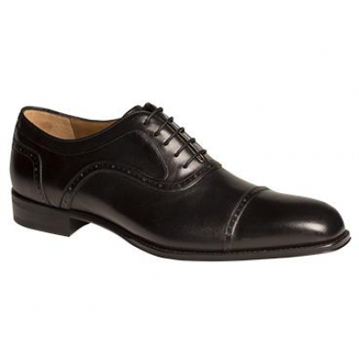 Mezlan March Classic Perforated Cap Toe Black Oxford