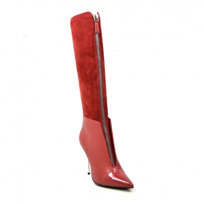 "SoleMani Women's French  X-Slim 12""-13"" Calf Red Leather Boot"
