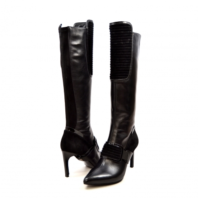 "SoleMani Women's ""Lucky"" Black Leather Narrow calf"