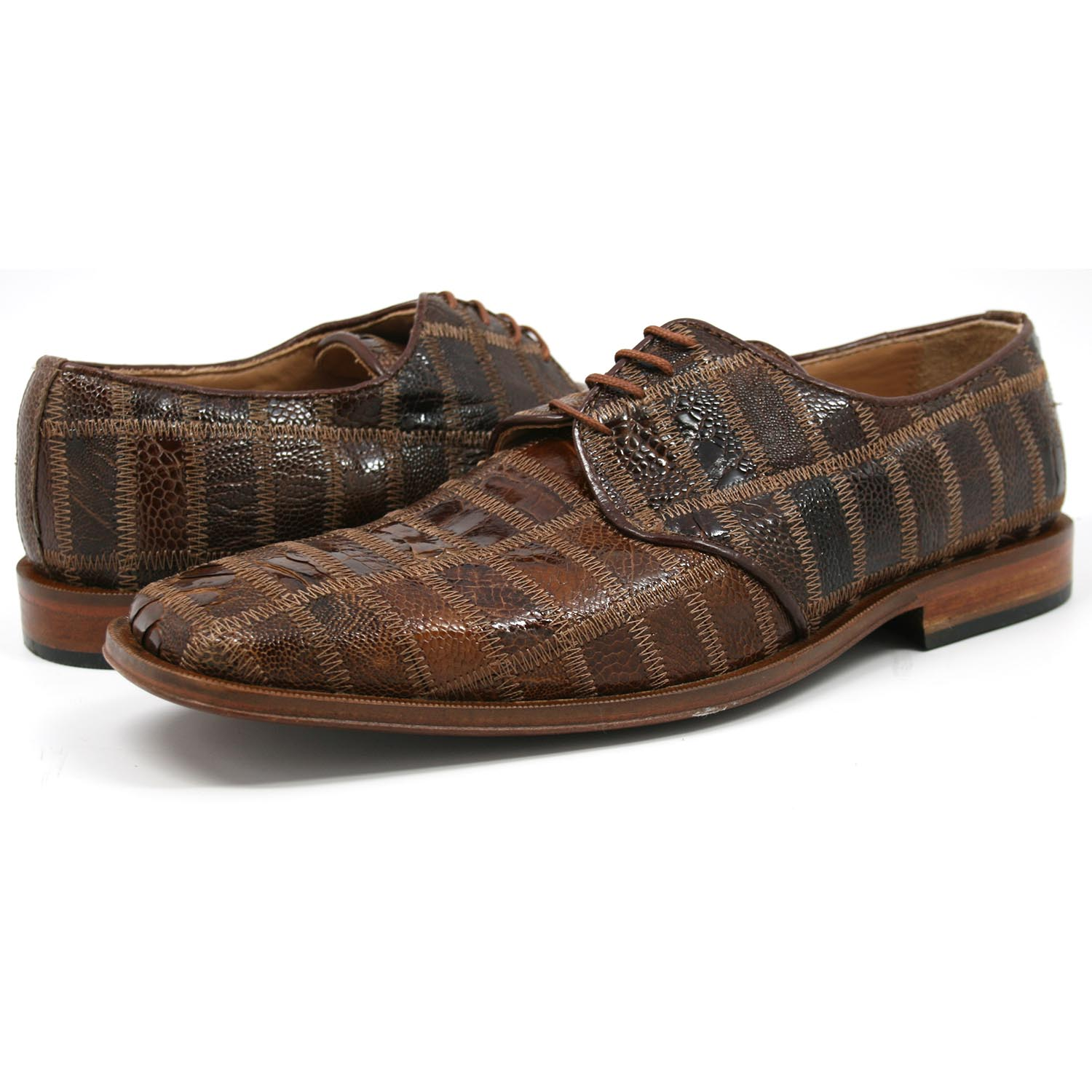 David Eden Men's Trek Patchwork Ostrich Leg Leather Taupe