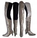 Peearge LB7060 Ladies Thigh High Boots Grey Leather