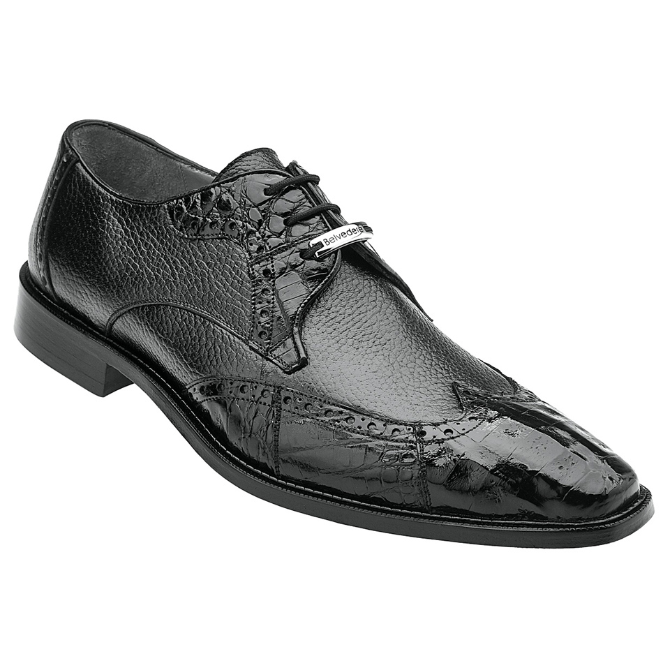 Belvedere Amato Men's Genuine Crocodile Skin Italian Shoes Black