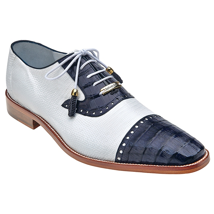 Belvedere Dotto Navy/White Genuine Crocodile and Lizard