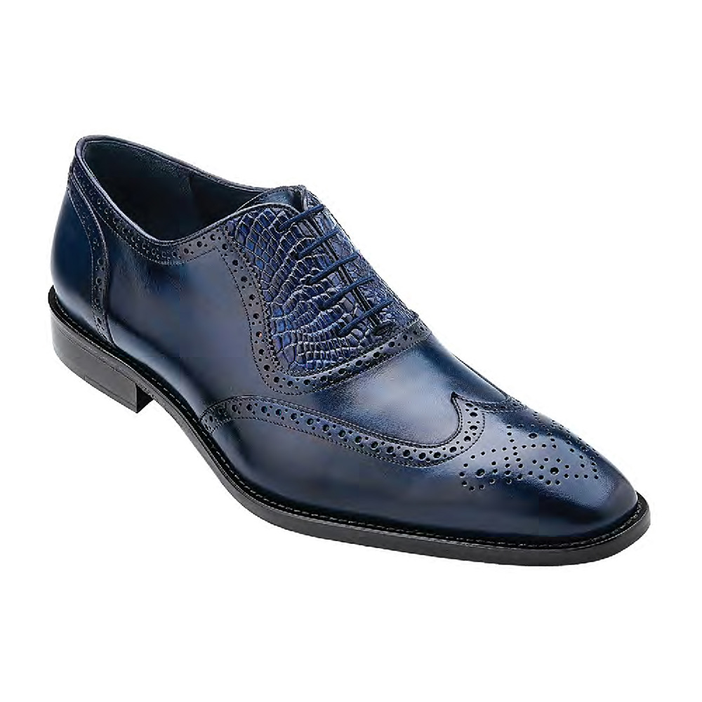 Belvedere Lago Navy Genuine Alligator-Italian Calf