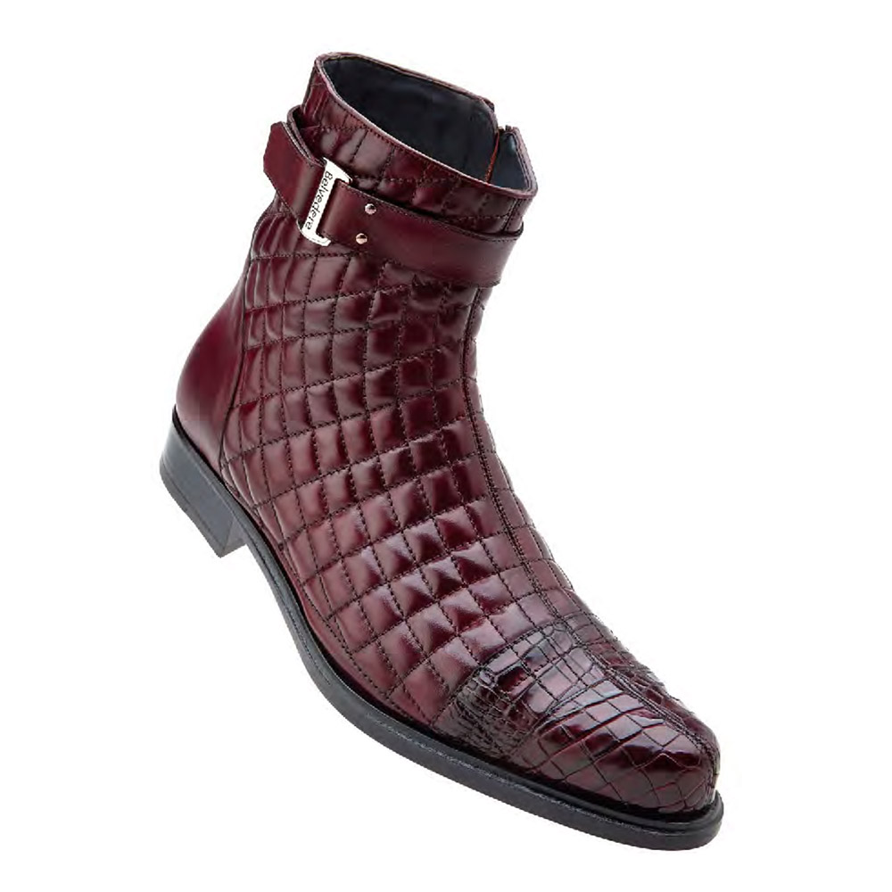 Belvedere Libero Genuine Alligator Soft Quilted Leather-Wine