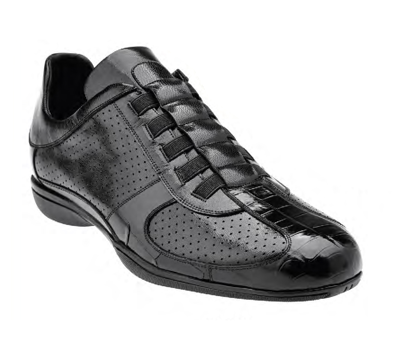 BELVEDERE CASTO BLACK GENUINE CROCODILE & SOFT CALF