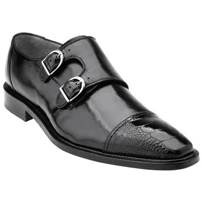 "Belvedere ""Amico"" Black Genuine Ostrich and Italian Calf"